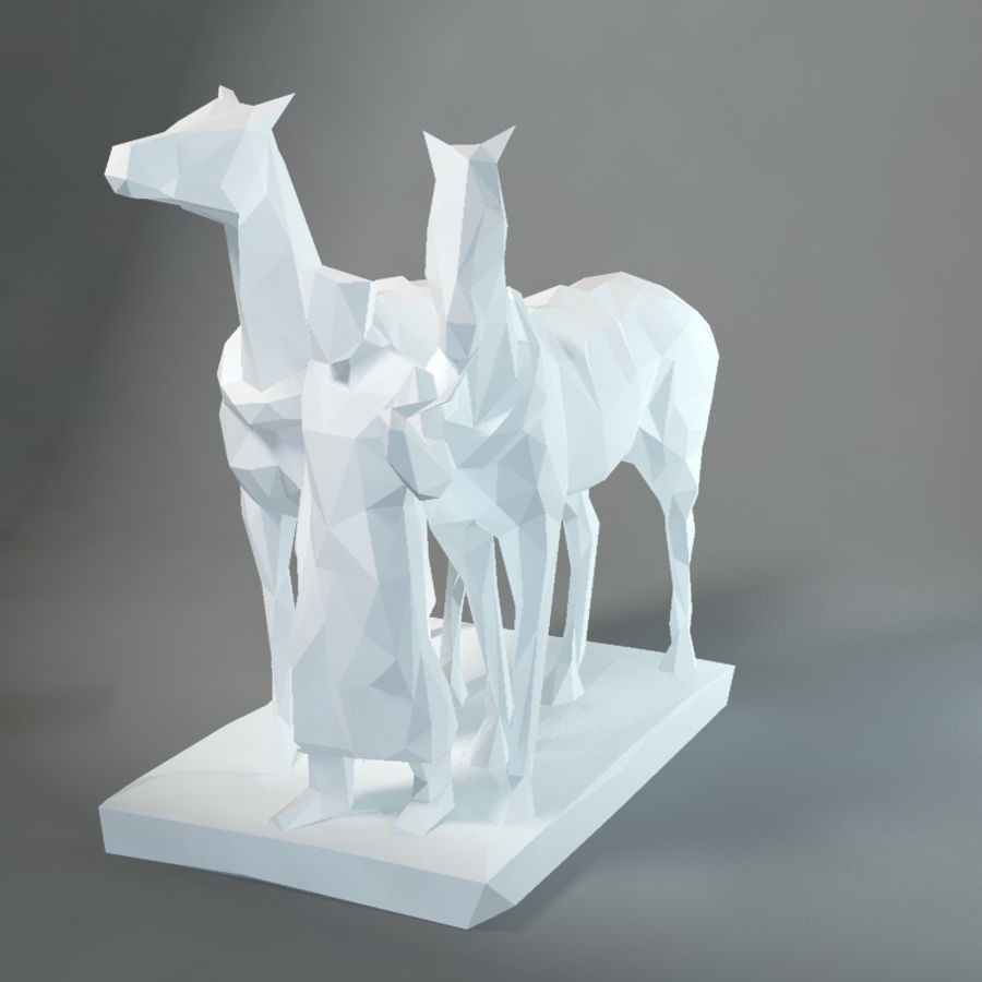 horse-drawn railway lowpoly royalty-free 3d model - Preview no. 1