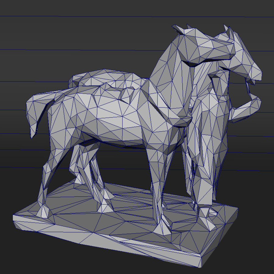 horse-drawn railway lowpoly royalty-free 3d model - Preview no. 4