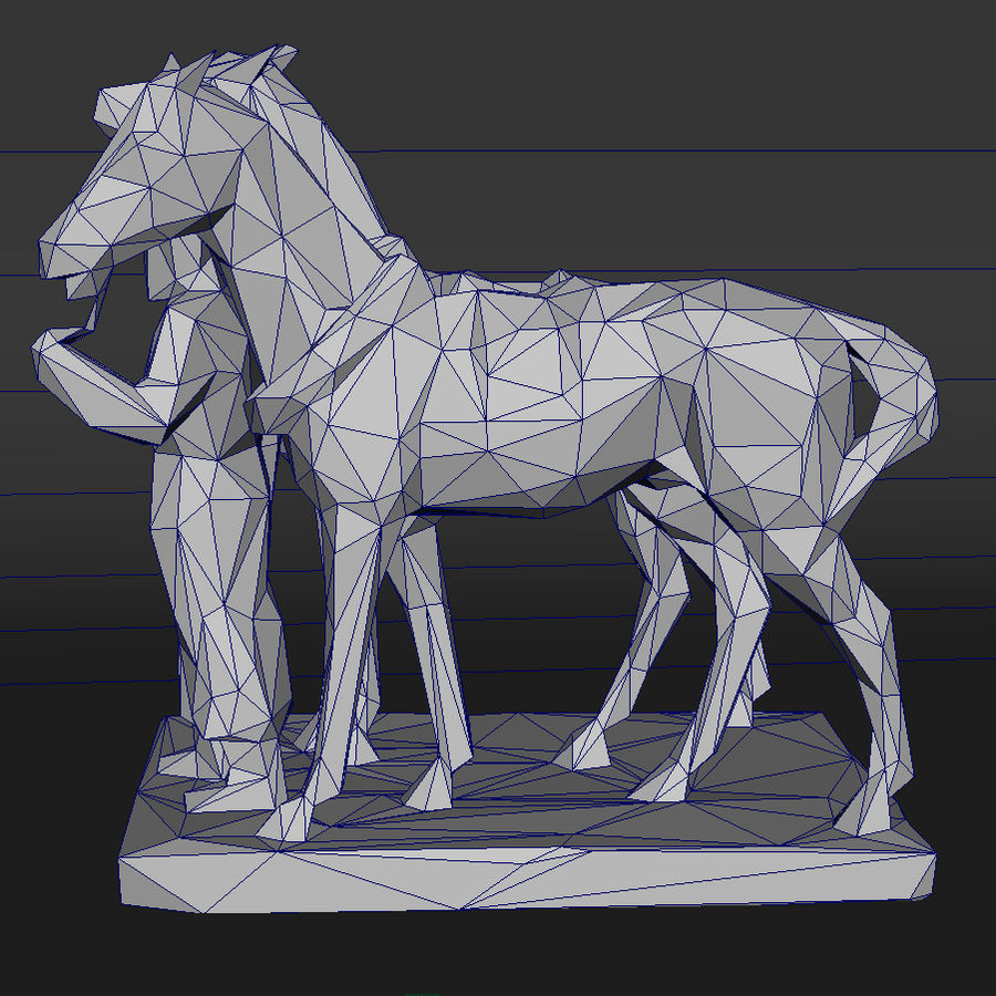 horse-drawn railway lowpoly royalty-free 3d model - Preview no. 6