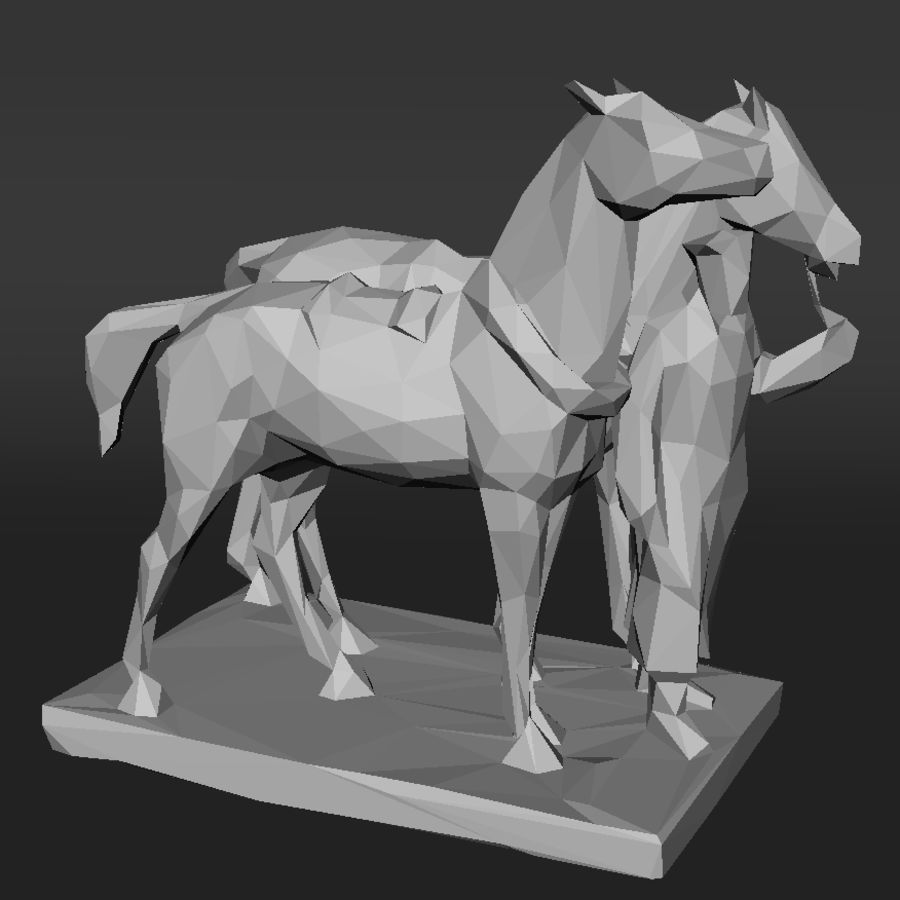 horse-drawn railway lowpoly royalty-free 3d model - Preview no. 3