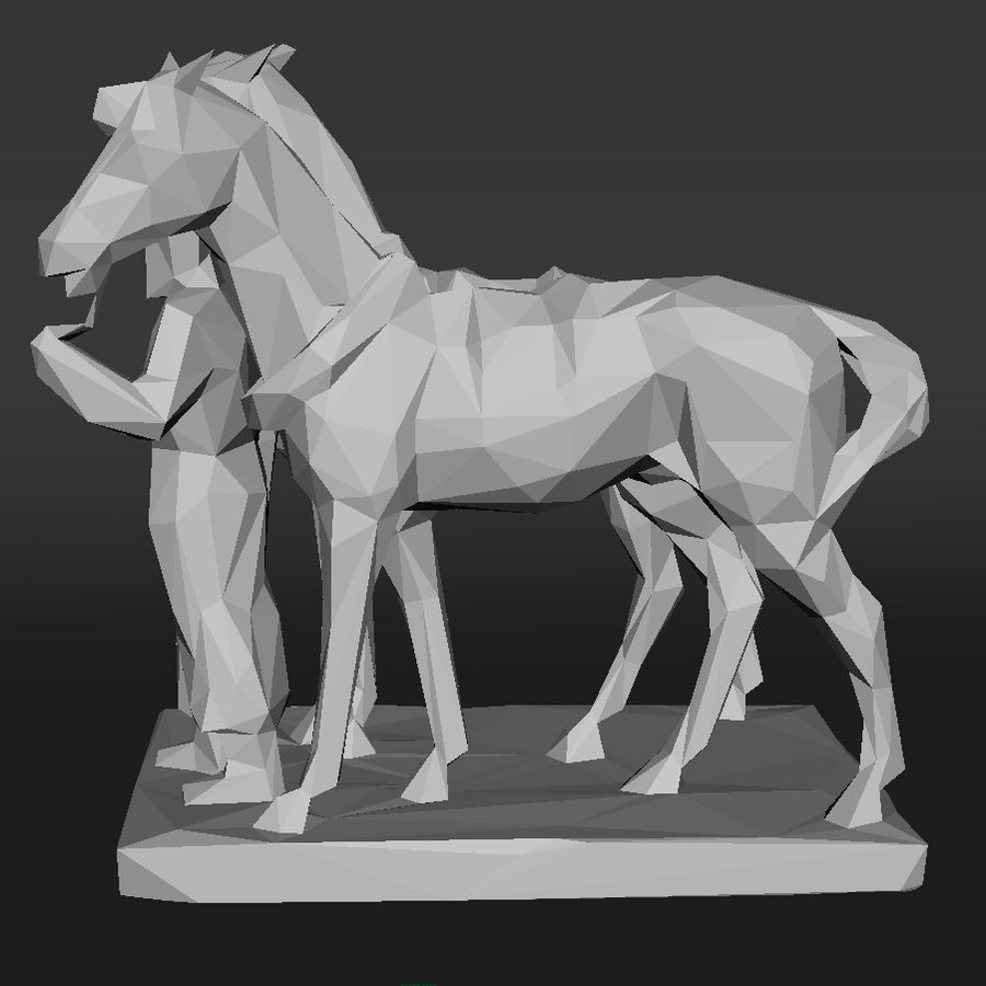 horse-drawn railway lowpoly royalty-free 3d model - Preview no. 5