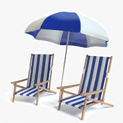 Beach Chairs and Umbrella 3d model