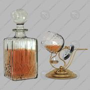 Crystal decanter and cognac warmer 3d model