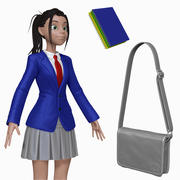 Dibujos animados estudiante adolescente H2O1 esculpir modelo 3d
