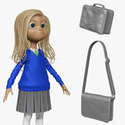 Cartoon Girl Student H1O2 Sculpt 3d model