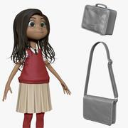 Dibujos animados chica estudiante H1O3 esculpir modelo 3d