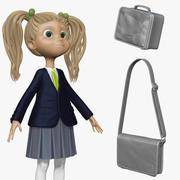 Dibujos animados chica estudiante H2O1 esculpir modelo 3d