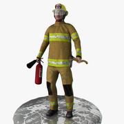 Bombero en tiempo real aparejado modelo 3d