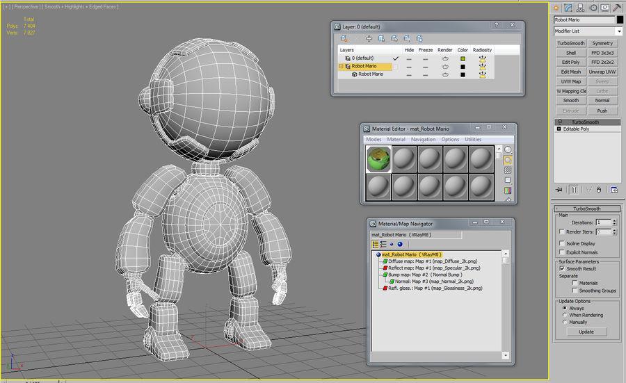 Robot Mario royalty-free 3d model - Preview no. 7
