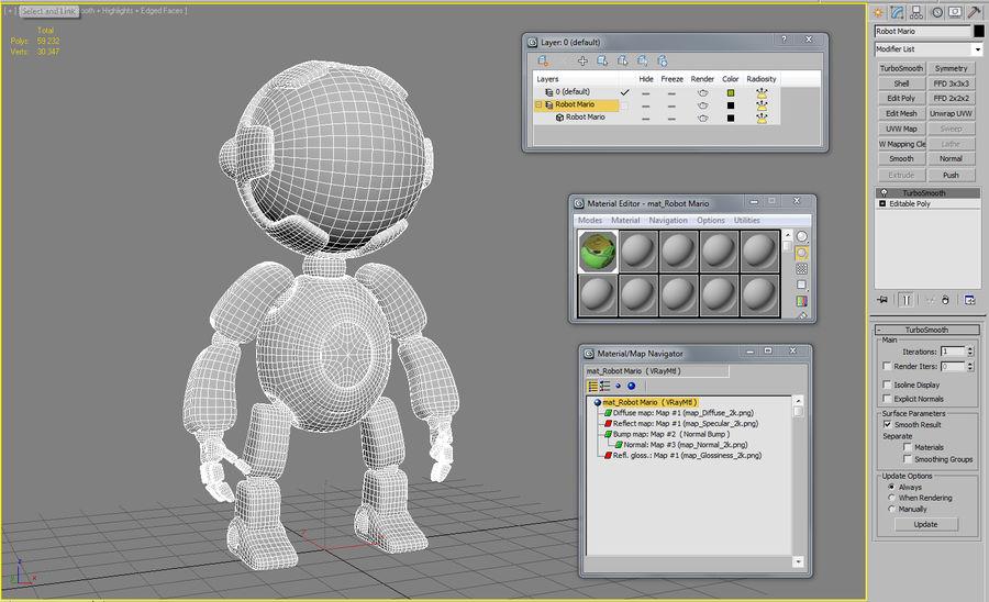 Robot Mario royalty-free 3d model - Preview no. 6