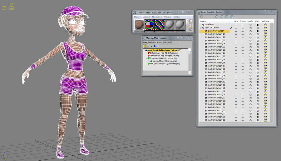 Sport Girl Cartoon royalty-free 3d model - Preview no. 7