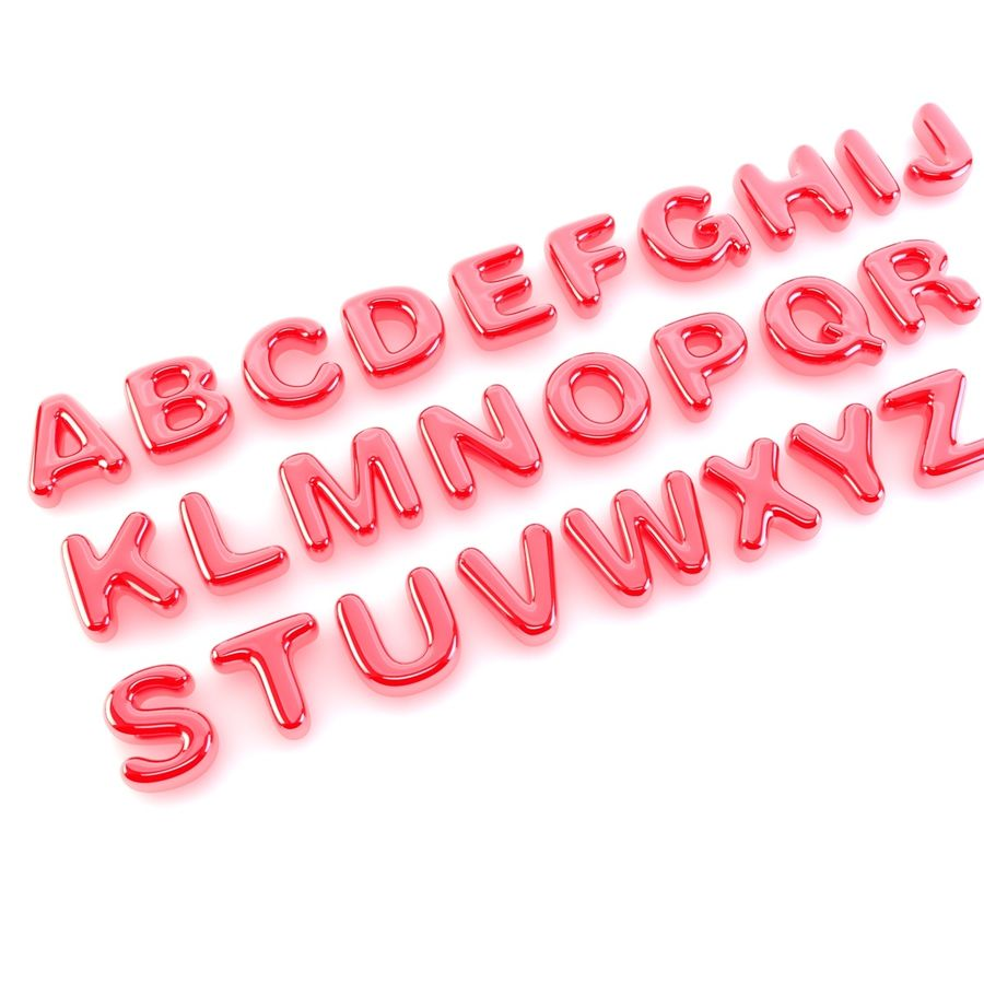 Bubble Letters Font royalty-free 3d model - Preview no. 2