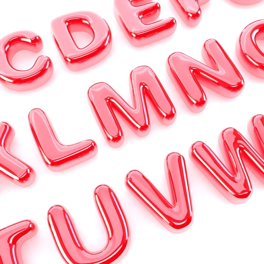 Bubble Letters Font royalty-free 3d model - Preview no. 3