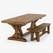 Обеденный стол и скамья PB Wells 3d model