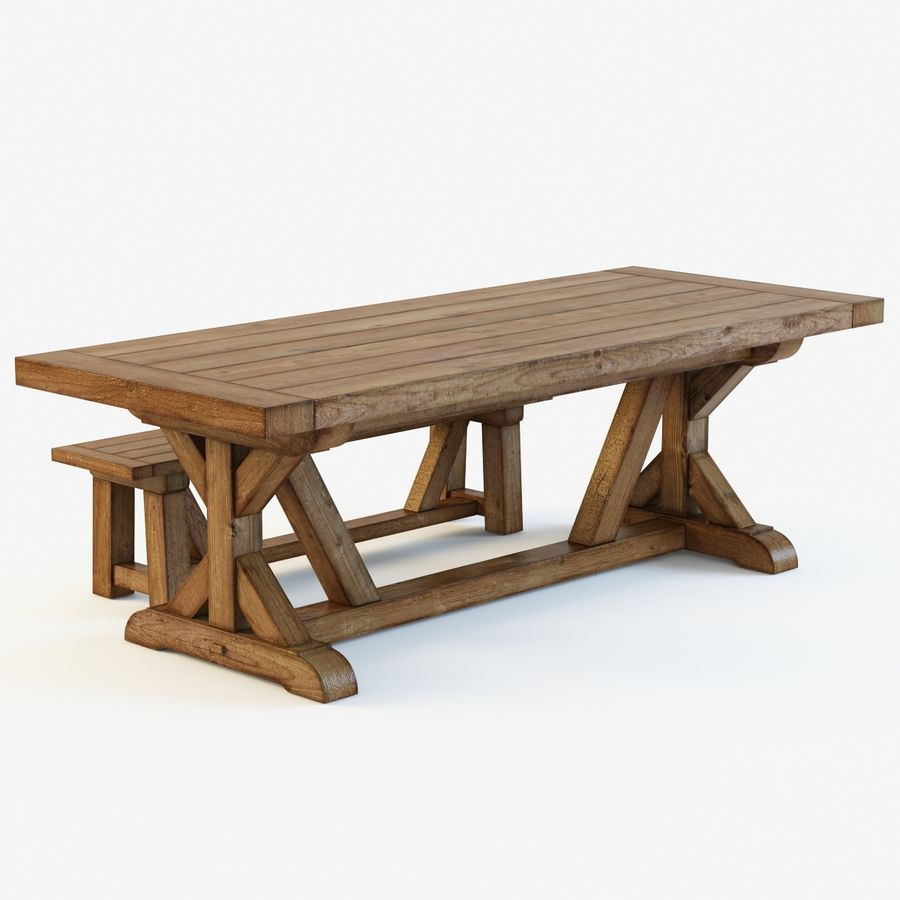 Pb Wells Extending Dining Table Bench 3d Model 49 Unknown Obj Fbx Max Free3d