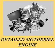 Ausführlicher Motorrad Motor 3d model