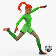 Woman Soccer Goalie Kicking Ball 1 3d model