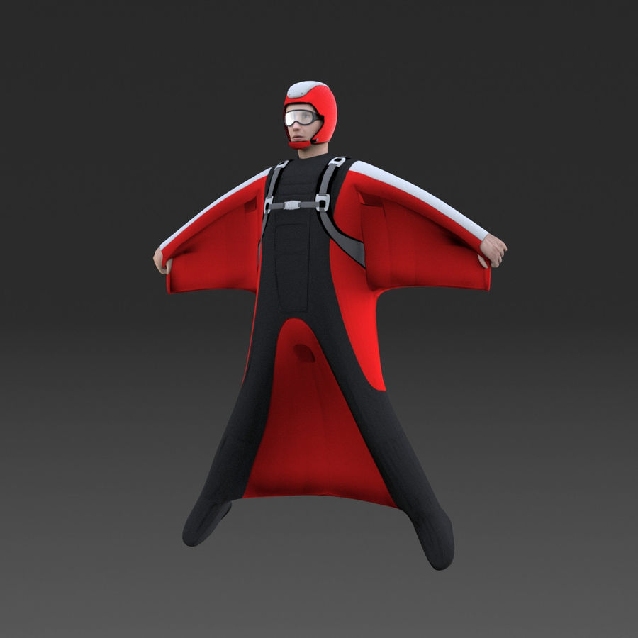 Skydiving Wingsuit modello 3D royalty-free 3d model - Preview no. 2