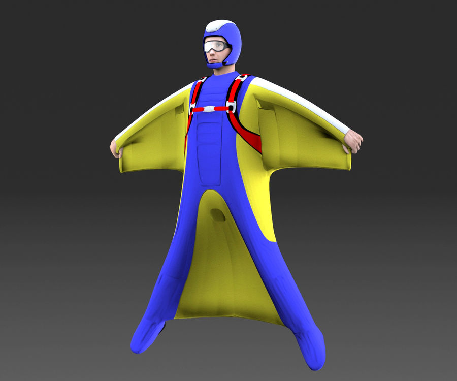 Skydiving Wingsuit modello 3D royalty-free 3d model - Preview no. 3