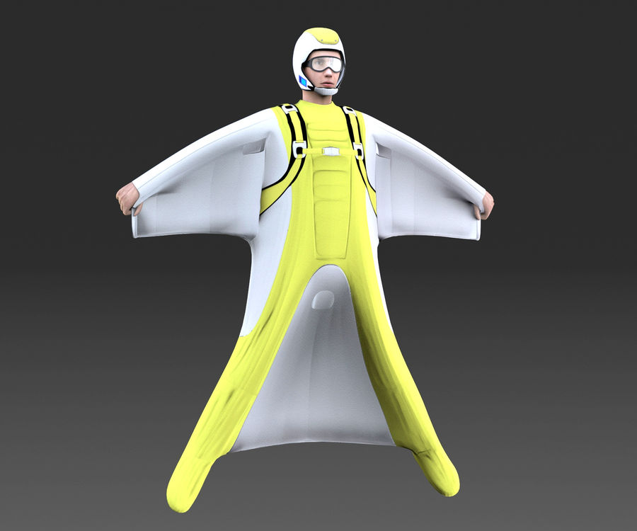Skydiving Wingsuit modello 3D royalty-free 3d model - Preview no. 4