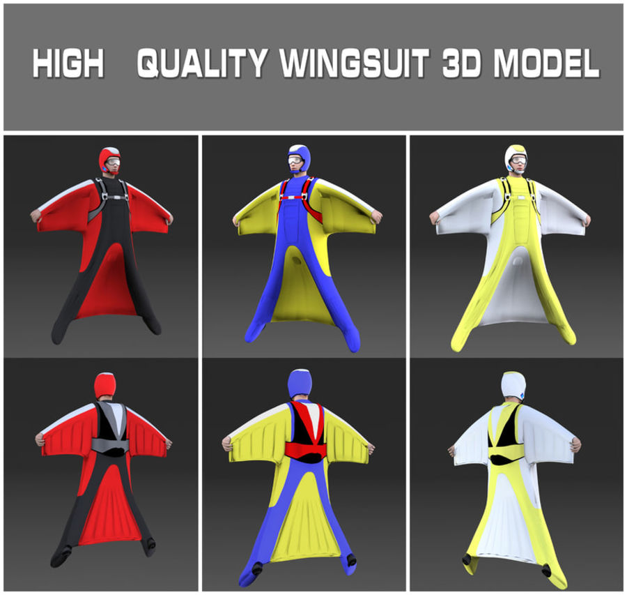 Skydiving Wingsuit modello 3D royalty-free 3d model - Preview no. 1