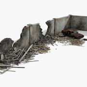 Trümmer und zerstörte Mauer zerstört 3d model