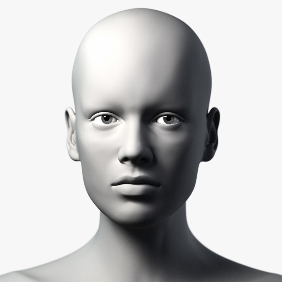 Testa femminile - Maglia di base royalty-free 3d model - Preview no. 1