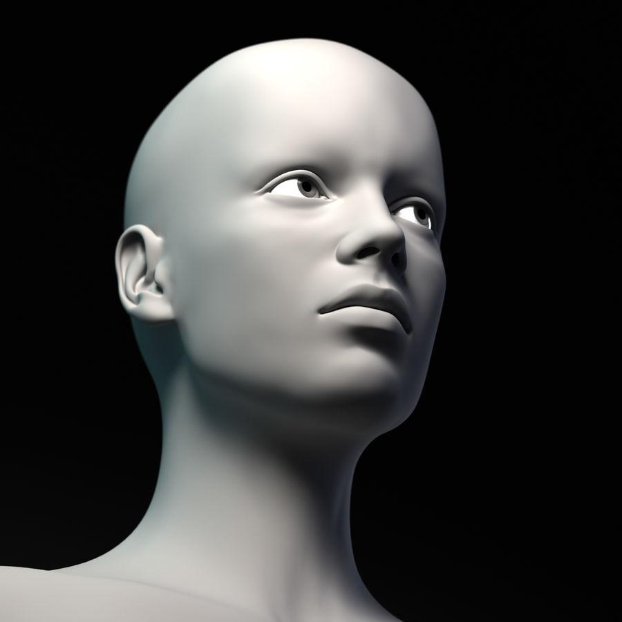 Cabeça fêmea - malha base royalty-free 3d model - Preview no. 7