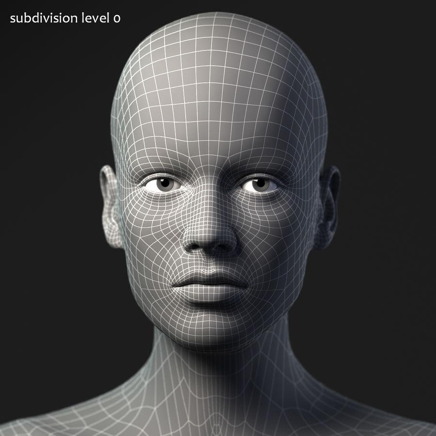 Cabeça fêmea - malha base royalty-free 3d model - Preview no. 13