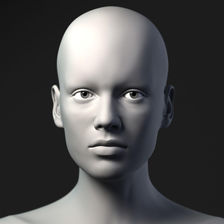 Testa femminile - Maglia di base royalty-free 3d model - Preview no. 3