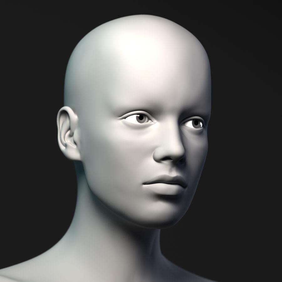Testa femminile - Maglia di base royalty-free 3d model - Preview no. 5