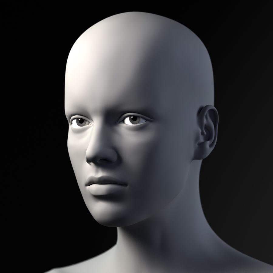 Testa femminile - Maglia di base royalty-free 3d model - Preview no. 4