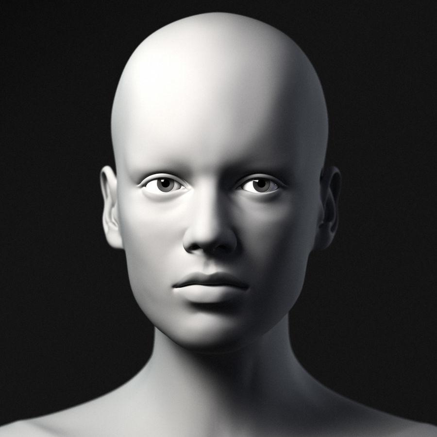 Cabeça fêmea - malha base royalty-free 3d model - Preview no. 2