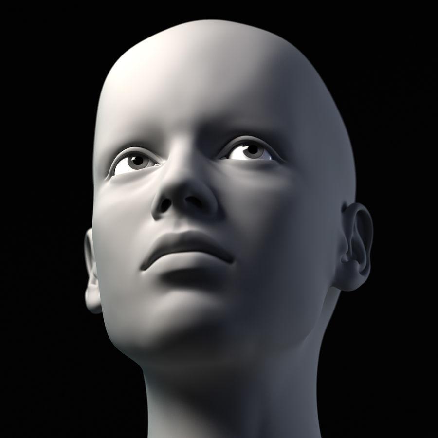 Testa femminile - Maglia di base royalty-free 3d model - Preview no. 8