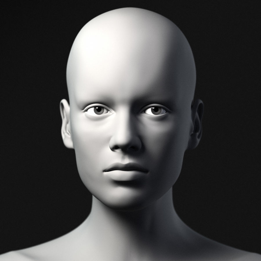 Testa femminile - Maglia di base royalty-free 3d model - Preview no. 2