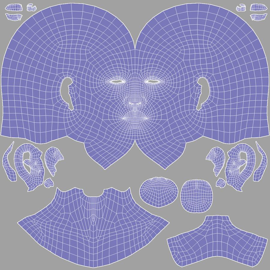 Testa femminile - Maglia di base royalty-free 3d model - Preview no. 21
