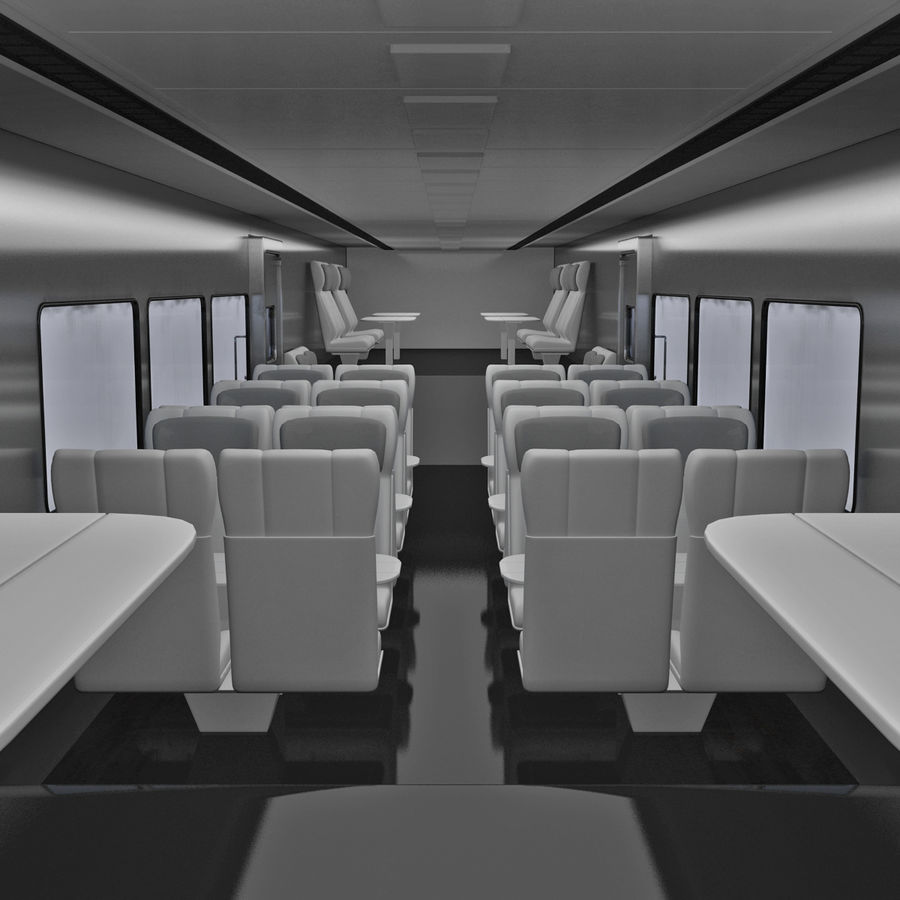 Railroad Double Deck Lounge Car 3D Model royalty-free 3d model - Preview no. 14