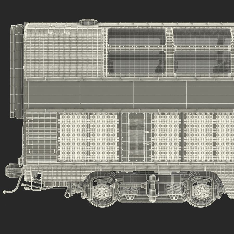 Railroad Double Deck Lounge Car 3D Model royalty-free 3d model - Preview no. 33