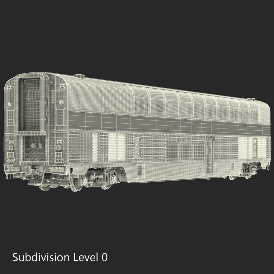 Railroad Double Deck Lounge Car 3D Model royalty-free 3d model - Preview no. 20