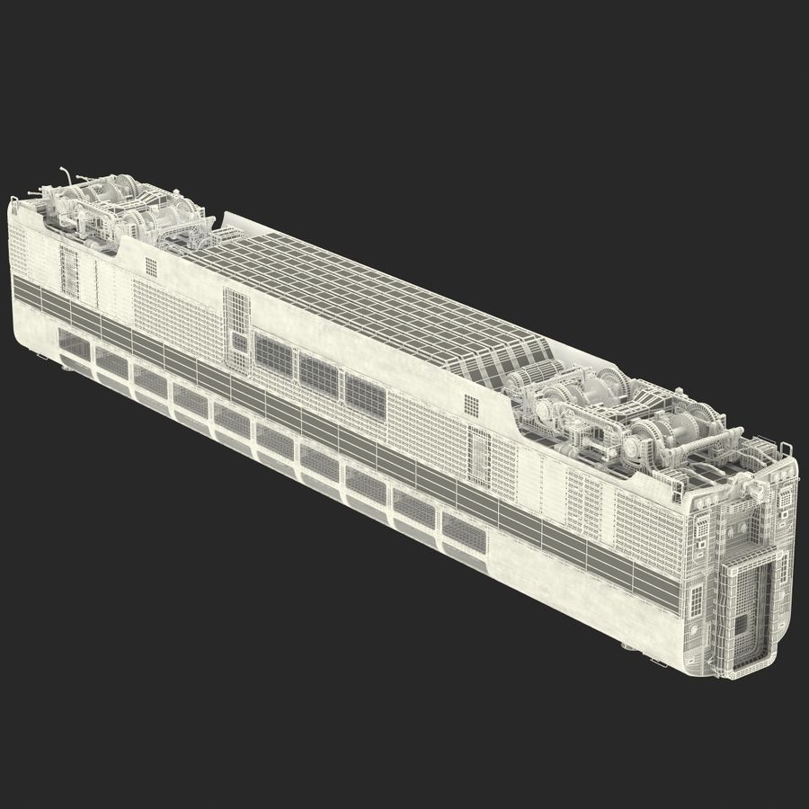 Railroad Double Deck Lounge Car 3D Model royalty-free 3d model - Preview no. 30