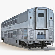 Railroad Double Deck Lounge Car Modèle 3D 3d model