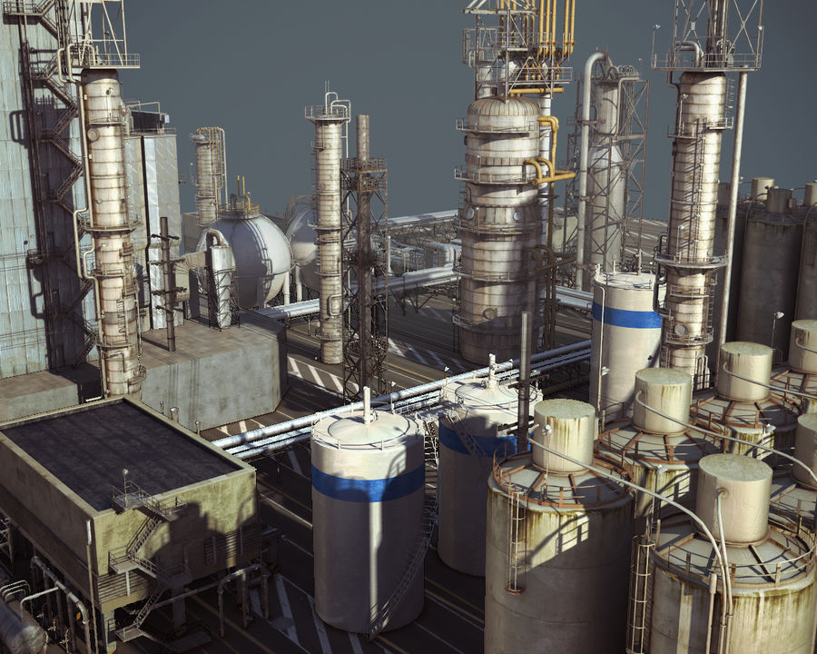 Mega-Raffinerie royalty-free 3d model - Preview no. 4