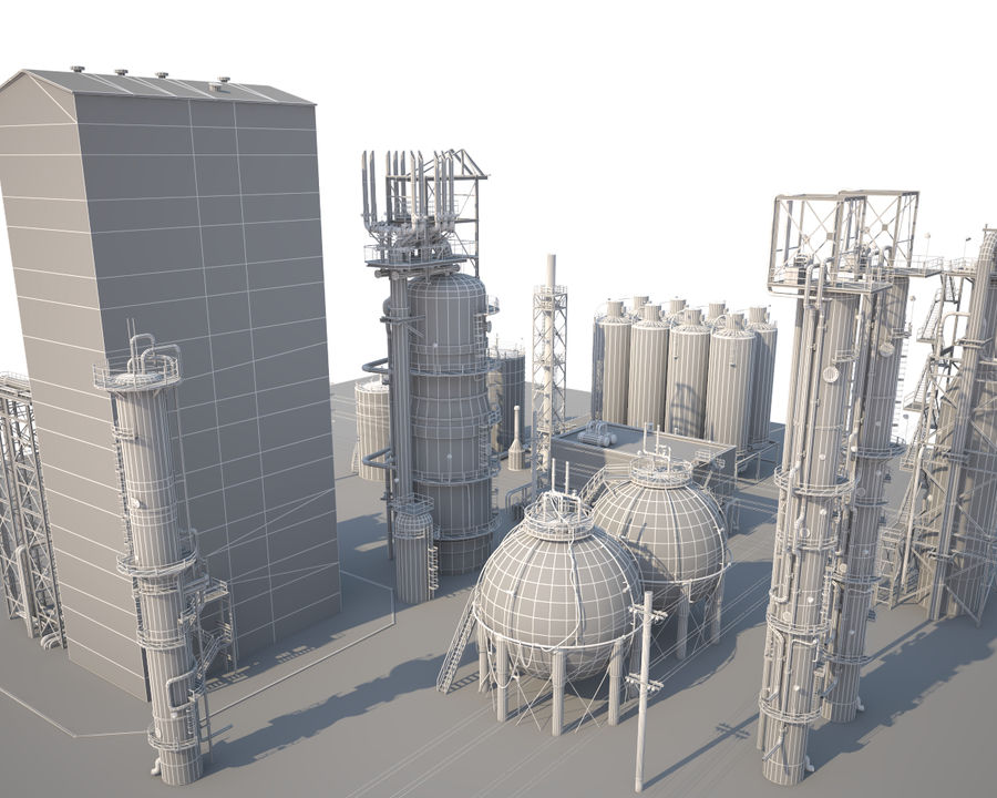 Mega-Raffinerie royalty-free 3d model - Preview no. 14