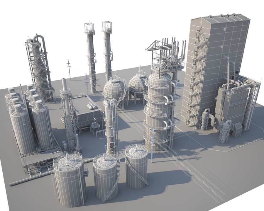 Mega-Raffinerie royalty-free 3d model - Preview no. 12