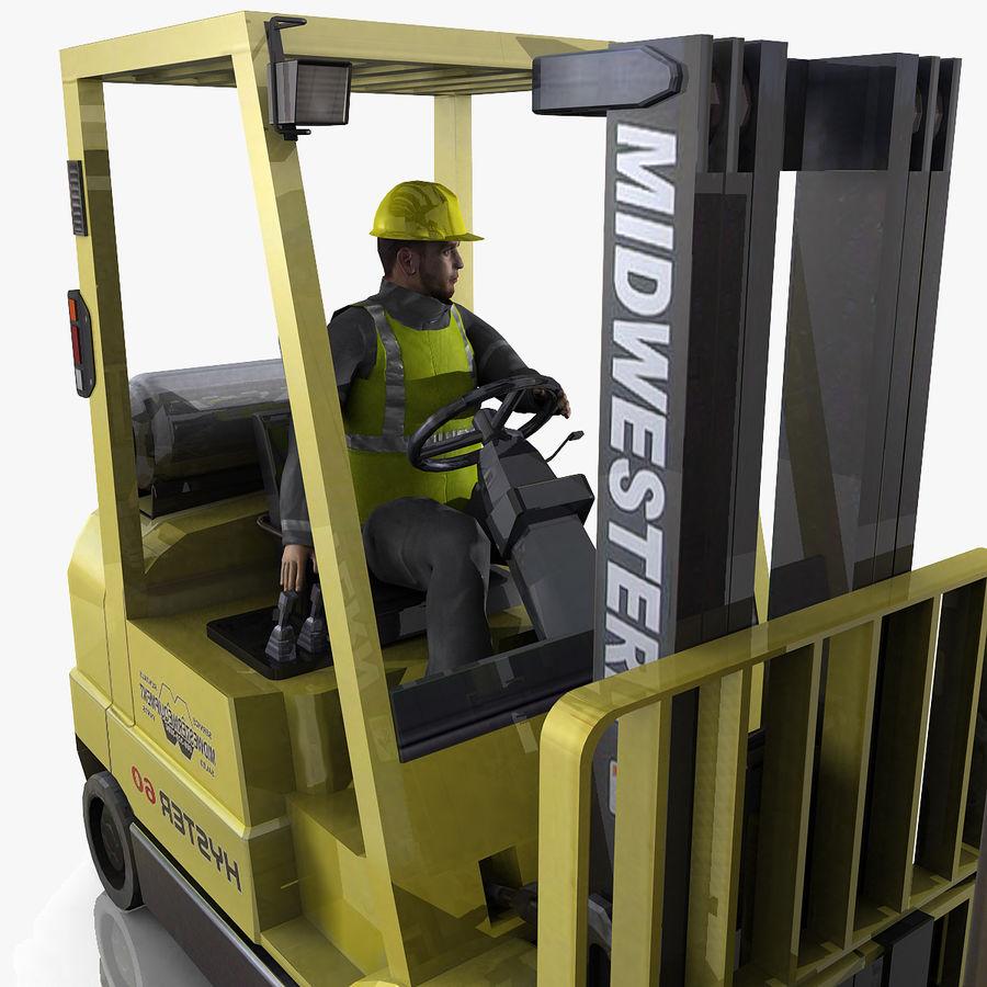 Forklift sürücüsü royalty-free 3d model - Preview no. 3