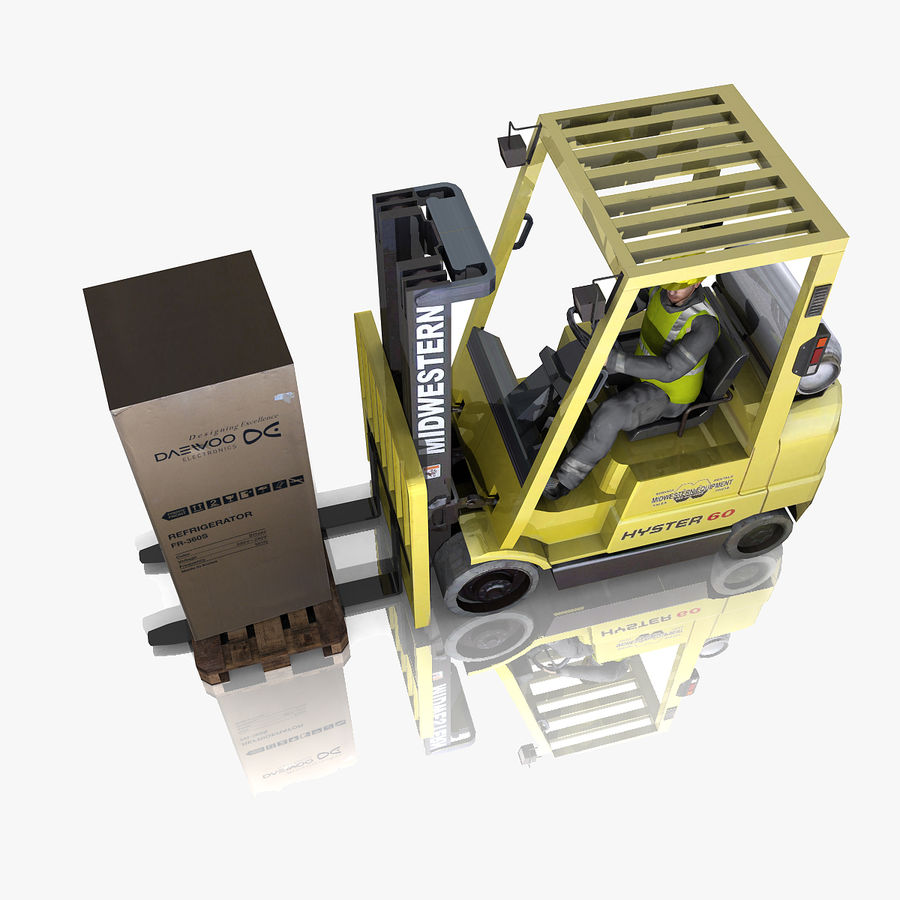 Forklift sürücüsü royalty-free 3d model - Preview no. 5