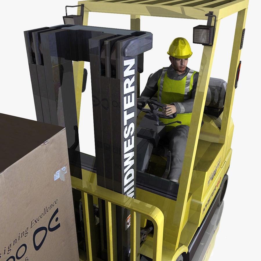 Forklift sürücüsü royalty-free 3d model - Preview no. 2
