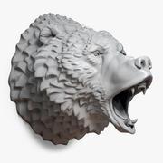 咆哮的熊头雕塑 3d model