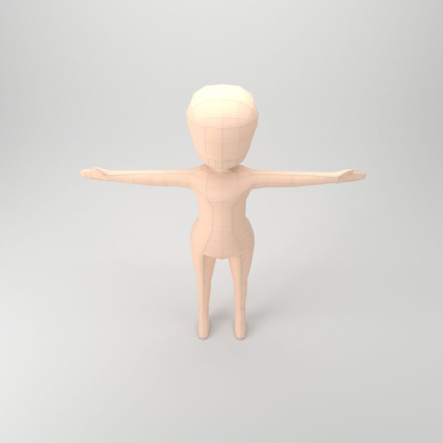 Malla Base Chibi royalty-free modelo 3d - Preview no. 4
