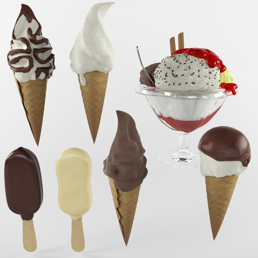 Ice cream set royalty-free 3d model - Preview no. 1